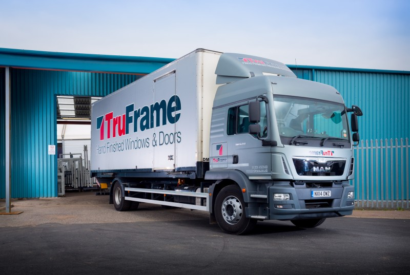 TruFrame delivery lorry for uPVC Windows and Doors