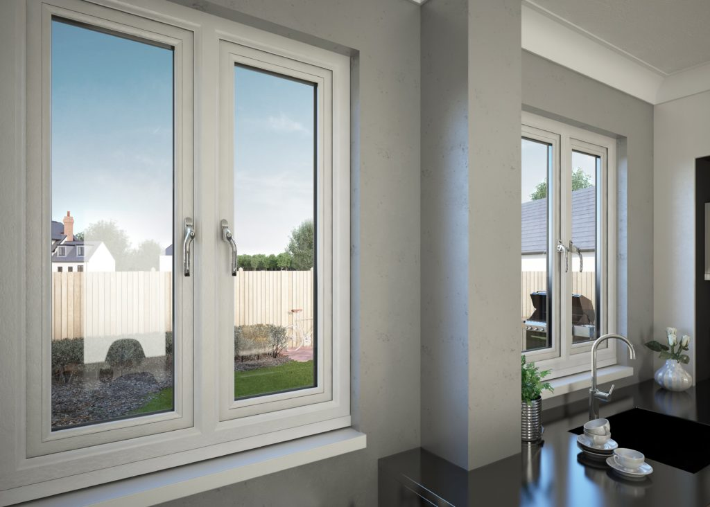 Contemporary interior secure window with lock in kitchen