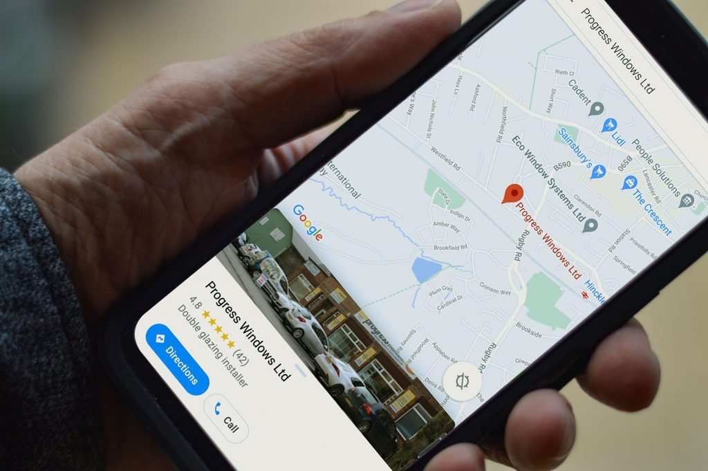 Google Maps reviews on a phone for Progress Windows